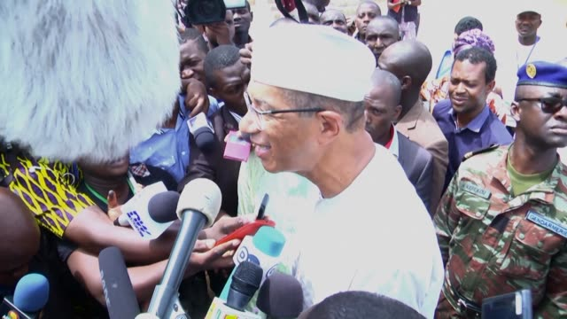 the prime minister of benin lionel zinsou votes in his country's presidential election but refuses to forecast a result - benin stock videos and b-roll footage