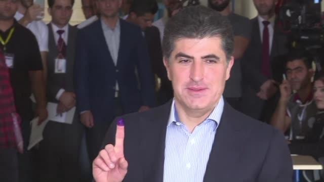 the prime minister of iraqi kurdistan nechirvan barzani casts his ballot as the autonomous region of kurdistan votes for a new parliament a year... - prime minister video stock e b–roll