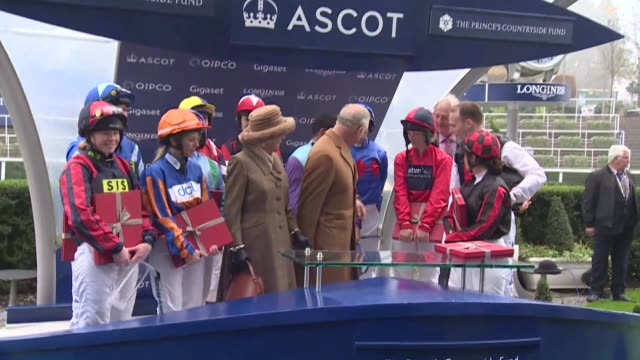 the prince of wales and duchess of cornwall attend the prince's countryside fund raceday at ascot; england: berkshire: ascot racecourse:ext**beware... - イギリス アスコット競馬場点の映像素材/bロール