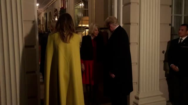 the prince of wales and the duchess of cornwall meet us president donald trump and wife melania at clarence house central london as nato leaders... - arts culture and entertainment stock videos & royalty-free footage