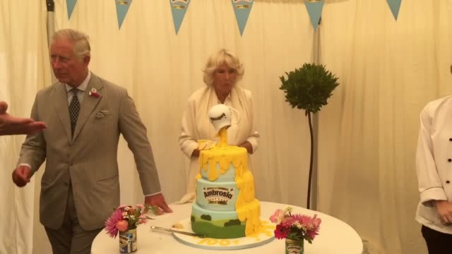 the prince of wales and the duchess of cornwall reminisced about school puddings during a visit to a custard factory revealing opposing opinions... - camilla duchess of cornwall stock videos and b-roll footage
