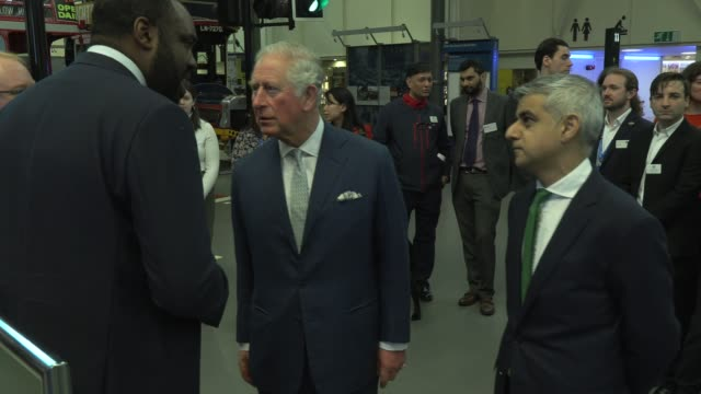 the prince of wales and the duchess of cornwall visit the london transport museum on march 4 2020 in london england - principe carlo principe del galles video stock e b–roll
