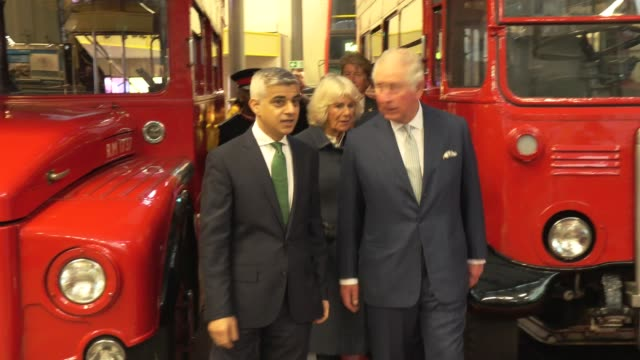 the prince of wales and the duchess of cornwall visit the london transport museum on march 4, 2020 in london, england. - prinz von wales stock-videos und b-roll-filmmaterial