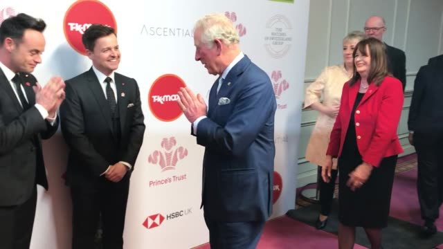 the prince of wales greeted ant mcpartlin and declan donnelly with a namaste gesture at the prince's trust awards as the spread of coronavirus... - prayer position stock videos & royalty-free footage