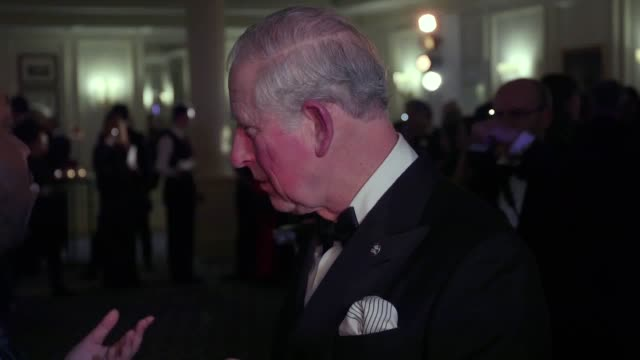 vídeos de stock e filmes b-roll de the prince of wales greets patrons of the princes trust at the savoy hotel in london as part of an evening reception for the trust's invest in future... - spice girls