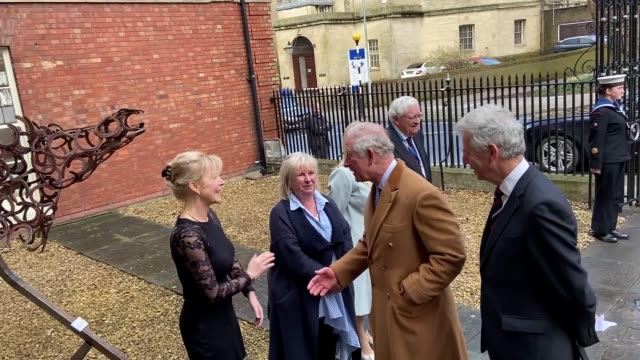 """the prince of wales joked about his efforts to stay in shape when he visited his shirt maker – saying """"it's a never-ending battle"""". charles' quip... - prince of wales stock videos & royalty-free footage"""