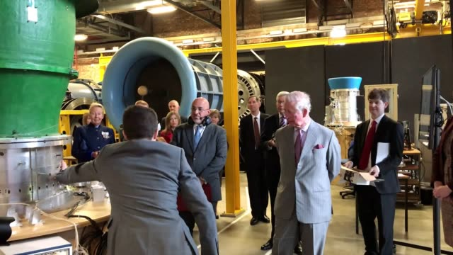 the prince of wales learned about work to develop ecofriendly planes as he toured a power research laboratory at cambridge university charles heard... - arts culture and entertainment stock videos & royalty-free footage