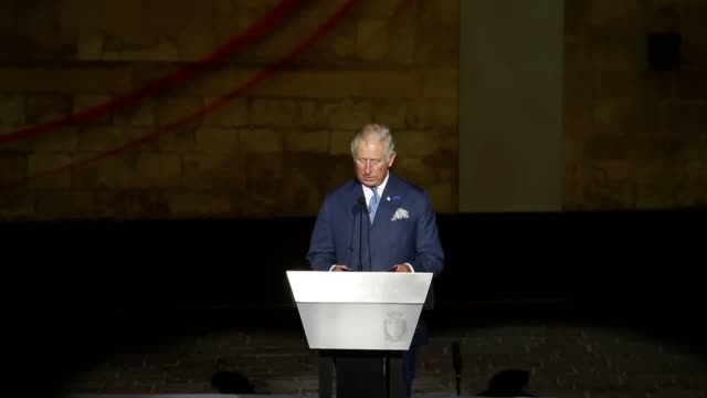 The Prince of Wales speaks at the 75th Anniversary Commemorations of the awarding of The George Cross to the Isle of Malta during a visit to the...
