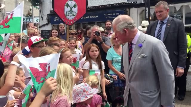 the prince of wales talks to crowds on a visit to the restored former corn exchange in crickhowell wales natural weigh is wales' first shop that... - crickhowell stock videos & royalty-free footage