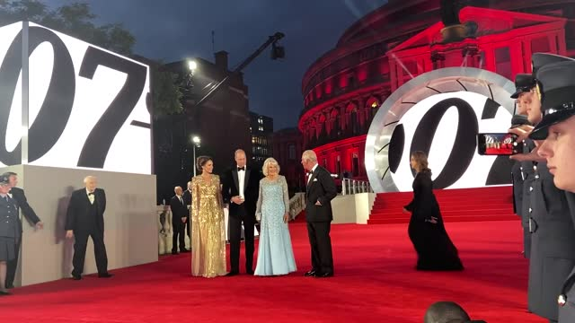 the prince of wales, the duchess of cornwall and the duke and duchess of cambridge have attended the royal albert hall for the world premiere of new... - première stock-videos und b-roll-filmmaterial