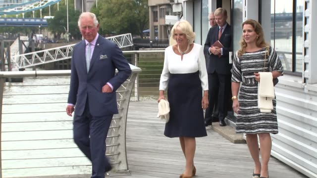 the prince of wales, the duchess of cornwall at hms president on september 05, 2018 in london, england. - コーンウォール公爵夫人 カミラ点の映像素材/bロール