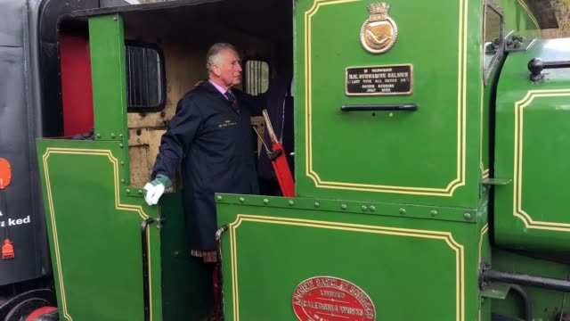 The Prince of Wales took charge of a steam train on a trip to Banchory Aberdeenshire The royal gave his seal of aprroval tot he the train which was...