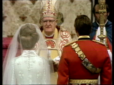 the princess anne collection 2 procession to abbey anne out of carriage walking up aisle with prince philip excerpts from the ceremony procession... - 1973 stock-videos und b-roll-filmmaterial
