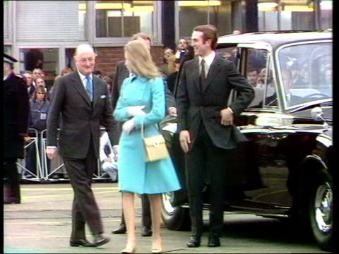 the princess anne collection 2 princess anne mark phillips leave for honeymoon car arrival both walk to plane board it - honeymoon stock videos and b-roll footage