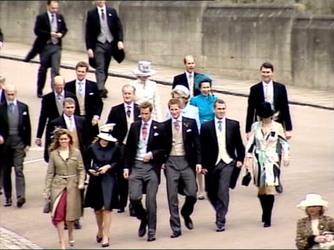 The Princess Anne collection 3 R09040519 Royals walking to St George's Chapel for wedding of Prince Charles to Camilla Parker Bowles large group...
