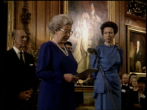 the princess anne collection 3; t30110011 princess anne's 50th birthday party: queen & prince philip talking to anne; mingling with guests; queen... - queen's birthday stock videos & royalty-free footage