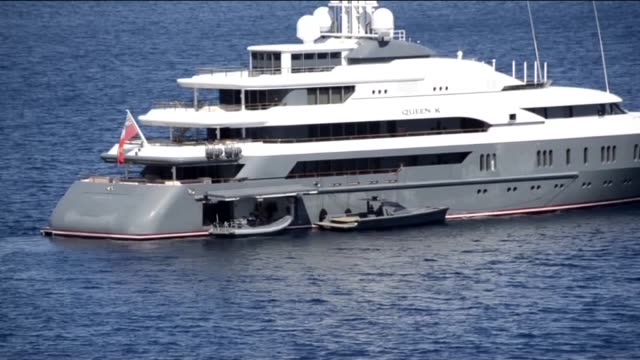 the private luxury yachts of russian businessman oleg deripaska, 60 meters 'sputnik' and 75 meters 'queen k' anchor in bodrum district of turkey's... - sputnik stock videos & royalty-free footage