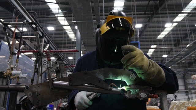 the production line at the brompton bicycle factory in middlesex united kingdom on tuesday march 10 2020 - welder stock videos & royalty-free footage