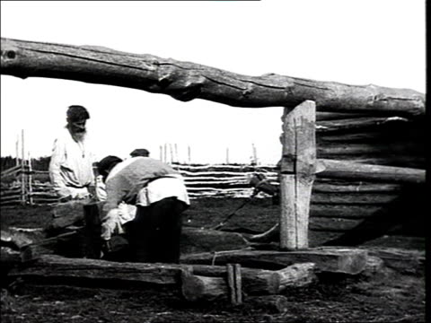 montage 'the production of sleds is in the hands of the kulak' the former kulak peasant works on wood to build a sledge vs very detailed sequences... - 1925 stock videos & royalty-free footage