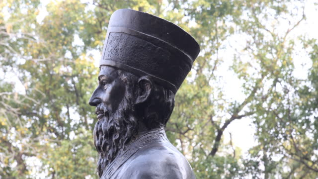 The profile of the bronze Statue of Matteo Ricci SJ who was an Italian Jesuit priest and one of the founding figures of the Jesuit China missions