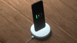 The progress of wireless charging the mobile, 3d rendering.
