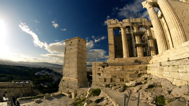 the propylaea overlooking greece - the erechtheion stock videos & royalty-free footage