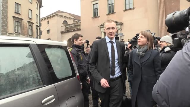 The prosecutor in the case of Danish inventor Peter Madson leaves court in Copenhagen on the first day of the trial