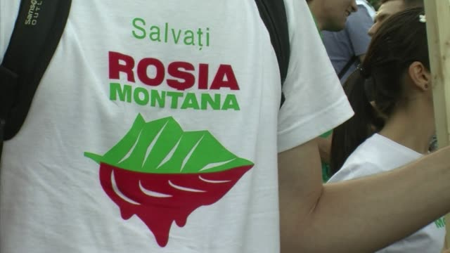 the prospect of a canadian company opening europes largest gold mine at rosia montana in transylvania has seen thousands take to the streets of the... - transylvania stock videos & royalty-free footage