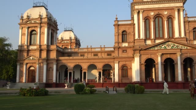 the public park in front of the beautiful palace of noor mahal in bahawalpur, pakistan - punjab pakistan stock videos & royalty-free footage