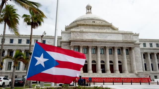 the puerto rican capitol building is seen where legislators are debating who will replace ricardo rossello as the governor of puerto rico on august 1... - politics and government stock videos & royalty-free footage