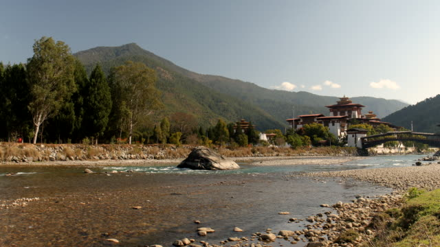 ws of the punakha dzong in bhutan - bhutan stock videos & royalty-free footage