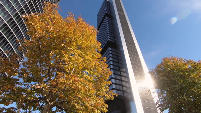 the pwc and the cepsa towers rise facing each other in the ctba area on october 16 2020, in madrid, spain. ctba is a business district located in the... - corporate business stock videos & royalty-free footage