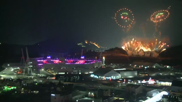the pyeongchang olympics are hailed as the games of new horizons as the curtain comes down on the biggest winter games in history - südkorea stock-videos und b-roll-filmmaterial