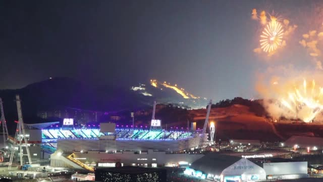 the pyeongchang olympics are hailed as the games of new horizons as the curtain comes down on the biggest winter games in history - winter olympic games stock videos and b-roll footage