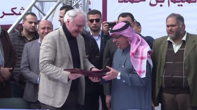 The Qatari Ambassador to Gaza Mohammed al Emadi and the Director of UNRWA Operations in the Gaza Strip Gaza Matthias Schmale gave a joint press...