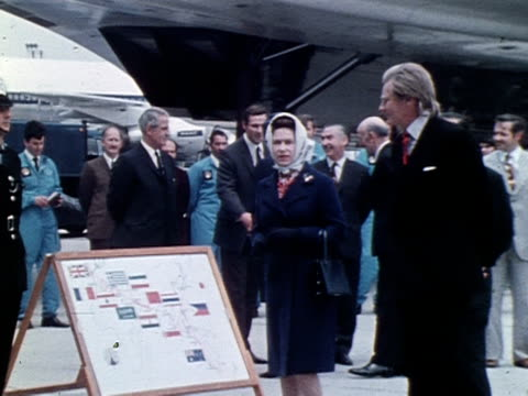 the queen and aerospace minister michael heseltine climb the stairs to the new concorde 002 at heathrow airport 1972 - 1972 stock videos & royalty-free footage