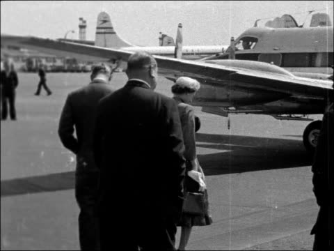 The Queen and Duke of Edinburgh visit StratfordUponAvon ENGLAND London London Airport EXT Heron aircraft taxis for takeoff Queen and Prince Philip...