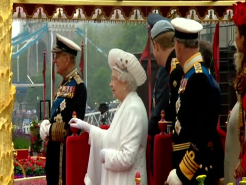 The Queen and other members of the Royal Family listening to music at Diamond Jubilee celebrations