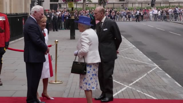 the queen and prince philip arrive at canada house to celebrate the country's 150th anniversary of confederation - canada house stock videos and b-roll footage