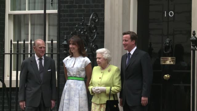 the queen and prince philip have joined prime minister david cameron and his wife samantha at downing street for a special lunch celebrating the duke... - david cameron politician stock videos & royalty-free footage
