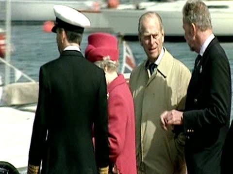 the queen and prince philip ride a lifeboat in falmouth harbour during her golden jubilee regional tour of the united kingdom - golden jubilee stock videos & royalty-free footage