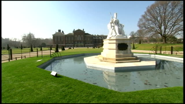 the queen and prince philip visit the newly renovated kensington palace england london kensington palace throughout** general views of statues and... - kensington palace video stock e b–roll