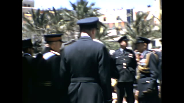 the queen and prince phillip, duke of edinburgh visit malta in may 1954 | dignitaries and vips greet the royal couple as they arrive in malta. - anno 1954 video stock e b–roll