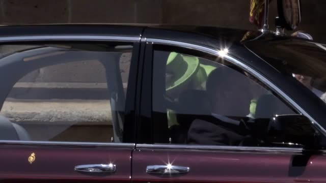 the queen and the duke of edinburgh depart st george's chapel after the duke and duchess of sussex were married in windsor - st. george's chapel stock videos and b-roll footage