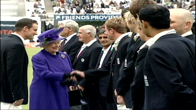 The Queen and the Duke of Edinburgh visit Lord's Cricket ground The Queen has final word with Sarwan / Various of Andrew Strauss England captain...