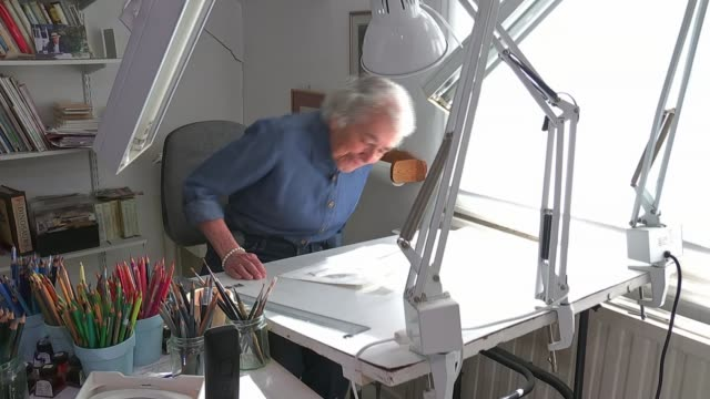 judith kerr interview; england: int children's author and illustrator judith kerr taking seat at desk where she works - illustrator stock videos & royalty-free footage