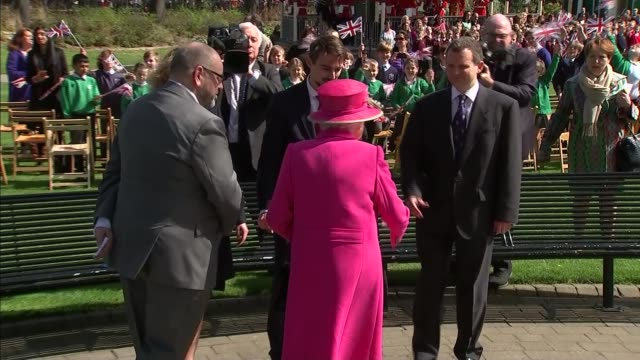 'the queen at 90' queen opens alexandra gardens bandstand **music heard sot** queen elizabeth ii along as band plays sot / queen greeting people /... - bandstand stock videos and b-roll footage