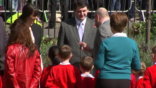 'The Queen at 90' Queen opens Alexandra Gardens bandstand Queen Elizabeth II along and greeting school children / Queen along / Queen chatting to...