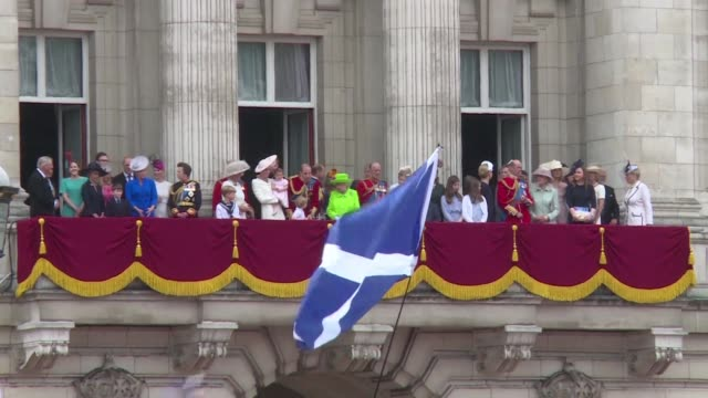 the queen celebrates her 90th birthday with huge crowds gathering in front of buckingham palace - 90th birthday stock videos and b-roll footage