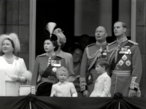 The Queen Duke of Edinburgh Prince Charles Princess Anne and the Queen mother watch a fly past by the RAF from the balcony of Buckingham Palace...